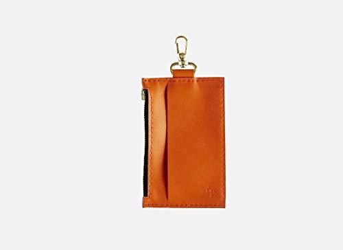 Lapàporter - Geldbeutel, Geldbörse, Kleines Lederportemonnaie mit Karabiner, zum anhängen, orange