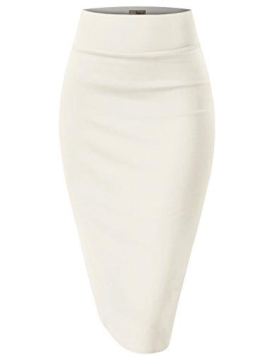 Womens Pencil Skirt for Office Wear KSK43584 1139 Ivory L