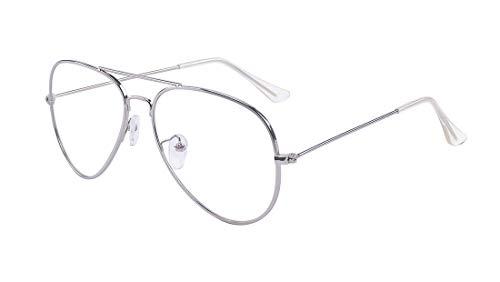 ALWAYSUV klassische Brille Metallgestell Brillenfassung Vintage Brille Dekobrillen (Silber)