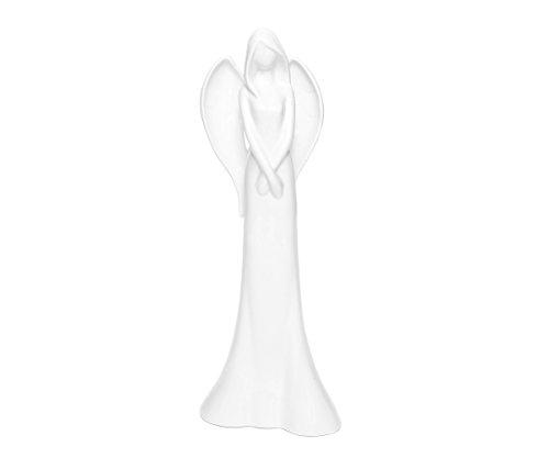 Brillibrum Design Deko-Skulptur Schutzengel Aus Porzellan Engelsfiguren Groß Porzellanengel Jahresengel Weiße Fee Statue Engel Stehend Weihnachtsengel Weiß 40 cm Porzellanfiguren (Variante II)