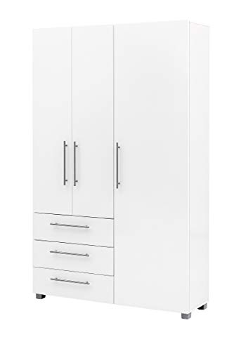 lifestyle4living Dielenschrank in weiß mit viel Stauraum, Garderobenschrank mit Türen und Schubladen, 118 cm breit