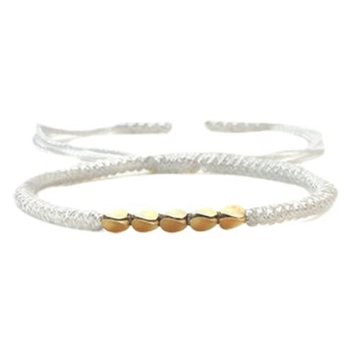 Pulseras, pulsera de punto a mano, cuerda de nylon y cuentas geométricas de cobre, diseño de la cuerda de escape de la personalidad, hombre o mujer