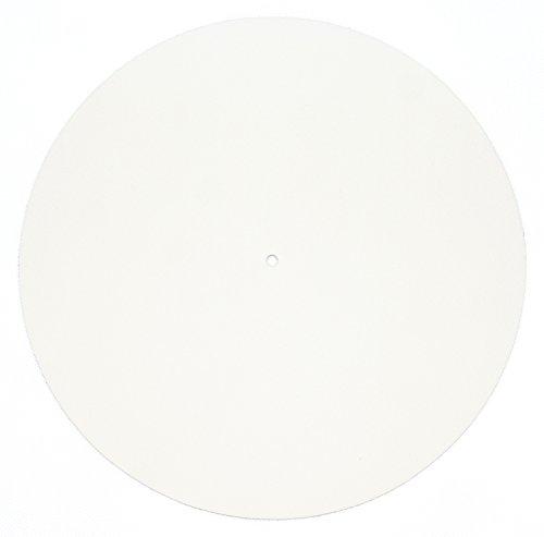 Echtleder Plattenmatte als Plattentellerauflage, hellcreme, glatt, Turntable Slipmat, von FREIRAUM®-Trend