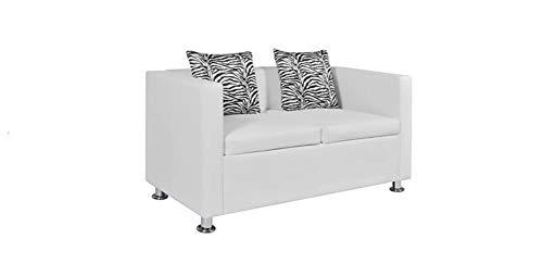 Zerone- 2-Sitzer-Sofa, 2-Sitzer-Wohnzimmer Ledersofa Ledersofa Wohnzimmer Lounge-Sofa Leder Stoff weiß 120 x 62,5 x 63 cm