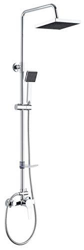 DP Grifería - Set de ducha extensible con grifo monomando incluido, color plateado, modelo Azabache