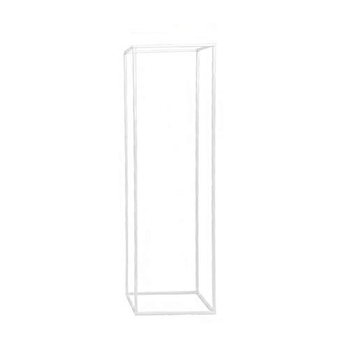 YYWJ - Soporte de metal para decoración de flores, para centros de mesa, apto para interior y exterior, diseño simple de pilar cuadrado para jarrones, desmontable 21 x 21 x 40 cm, No nulo, Blanco, Tamaño libre