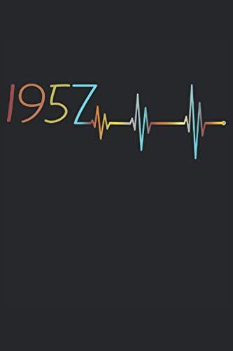 Herzschlag 64. Geburtstag 64 Jahre Geboren 1957 Heartbeat Frequenz: NOTIZBUCH - Lustiges Geburtstags Geschenk, Vintage Retro Geschenkidee - A5 (6x9) - ... Buch, Sketch, Planer, Geburtstag, Jahrgang