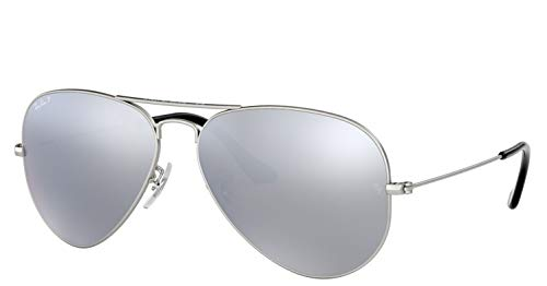 Ray-Ban Aviator Polarisiert Verspiegelt | Inkl. Hardcase | Allround-Set (Silver Flash Polarized mit flachem Etui)