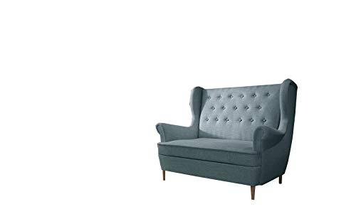 MOEBLO Ohrensofa 2 Sitzer Sofa Garnitur Stoff Samt (Velour) Glamour Wohnlandschaft Chesterfield - Kros (Blau (Cover70))