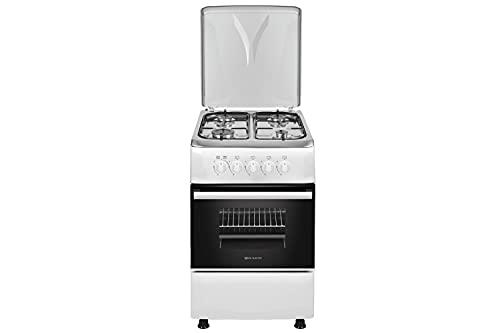 EAS ELECTRIC SMART TECHNOLOGY | EFG556W | Cocina de gas blanca | Color blanco | 50 cm | Gas butano y gas natural | Autoencendido | Horno de 55 litros | Tapa de metal | Parrillas esmaltadas | 4 fuegos