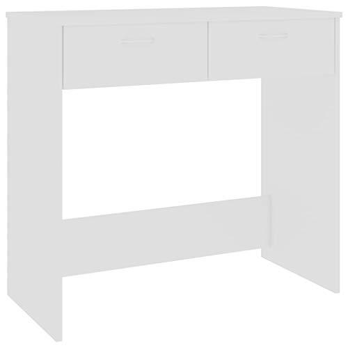 Festnight Escritorio de Aglomerado Mesa de Escritorio Moderno con 2 Cajones Blanco 80x40x75 cm