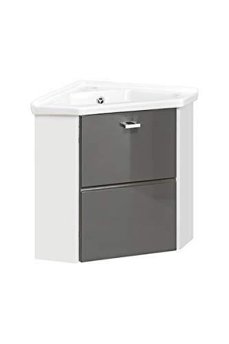 Jadella Eckwaschtisch 'Fina Grau ' Eckwaschbecken 2tlg Waschtisch Weiß Grau Hochglanz