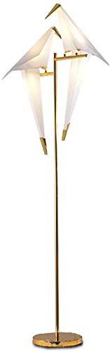 LOKKRG Lámpara de pie LED de 12 Wluz de pielámparas de pie para dormitoriooficinasalónlámpara de pie con Ahorro de energía (6 W * 2doradointerruptor de piediseño de pájaro)