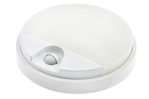 HUBER LED Wandlampe mit Bewegungsmelder 140° 10W, 850lm I IP54 geschützte LED Außenleuchte mit Bewegungssensor I Wandleuchte innen, rund, weiß