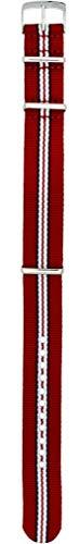 Morellato - Correa de tela de color blanco, rojo y azul, con lengüeta de 18 mm, para reloj Omega Tag Heuer Rollex Tudor