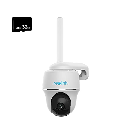 Reolink Cámara Vigilancia 3G/4G LTE Exterior con Batería, 355°/140° Pan & Tilt, 1080P HD Solar Cámara de Seguridad Sin Cables Visión Nocturna Starlight, con Tarjeta Micro SD de 32GB, Go PT