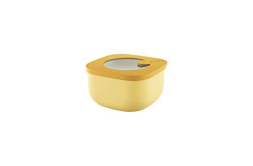 Guzzini Store&More Kitchen Active Design Contenitori Ermetici Bassi per Frigo/Freezer/ Microonde (S), 12.2 x 12.2 x 6.8 cm, Giallo (Ochre)
