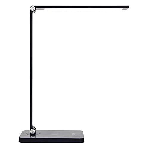 Lámpara LED de escritorio, lámparas de mesa con carga inalámbrica, control táctil regulable, 5 modos de color, lámpara de noche para estudio, hogar, oficina, dormitorio, color negro