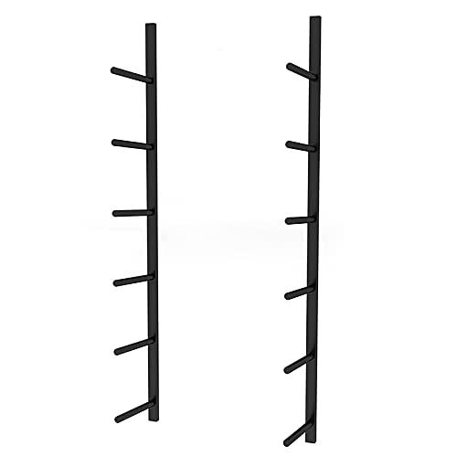 estante de la estera de yoga Soporte de almacenamiento en la pared para estera de yoga de metal, soporte de rodillo de espuma de acero de 6 secciones con accesorios de montaje, soporte de pared multif