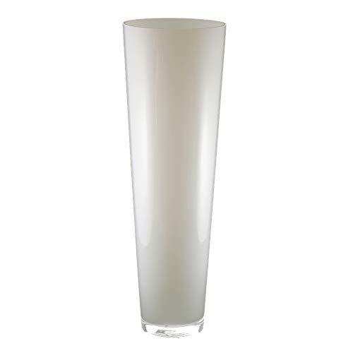 Glasvase konischer Zylinder weiß 43cm hoch Ø 18cm | Große Bodenvase, modern und zeitlos als Blumenvase | Schöne Glas-Vasen deko selbst gestalten | weiße Bodenvase in Opal-Glas von Glaskönig