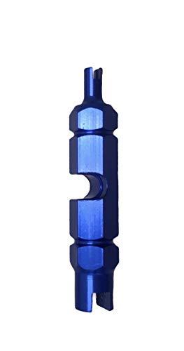Nalunox-Extractor de Válvulas Bicicleta-Herramienta Quitar Núcleo Válvula Neumático-Llave Obus Válvula Presta-Desmontar Presta Schrader extraíbles-Reparación Motocicleta-Multifunción-Color Azul