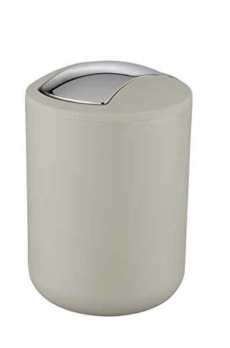 WENKO Kosmetikeimer Brasil S 2 Liter, Badezimmer-Mülleimer mit Schwingdeckel, kleiner Abfalleimer aus bruchsicherem Kunststoff, Ø 14 x 21 cm, Taupe