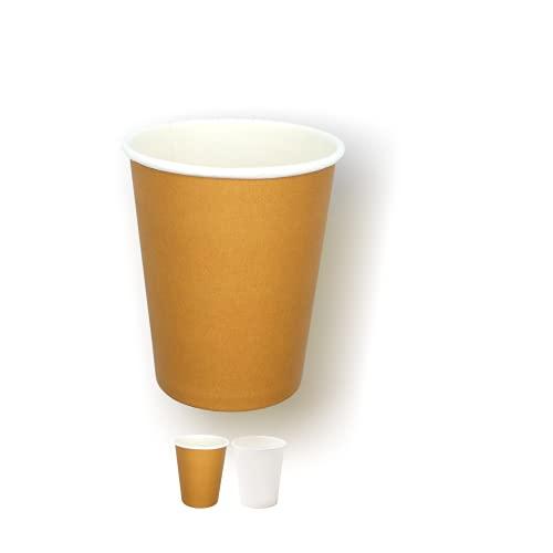 Cocobanana Bicchieri di Carta da 240ml, Monouso, Biodegradabili - Cartone Adatto a Uso Alimentare, Inodore e Insapore - Per Bevande Calde & Fredde, Caffè, Tè, Aperitivi, Cocktail (50, Avana)