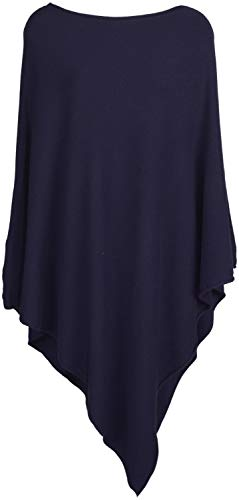 styleBREAKER Damen Leichter Feinstrick Poncho in Unifarben, leicht asymmetrischer Schnitt, Ärmellos, Rundhals 08010076, Farbe:Dunkelblau