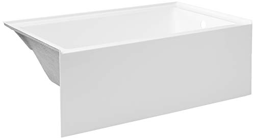 Kingston Brass VTAP603622R Aqua Eden 60-Inch Acrylic Alcove Tub with Right Hand Drain Hole, 60 inch (L) x 36 inch (W) x 21-5/8 (D), White