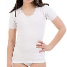Camiseta Interior Termal de niña L145, de Manga Corta y Cuello Pico con puntilla. Pack Ahorro de 6 Unidades de la Misma...