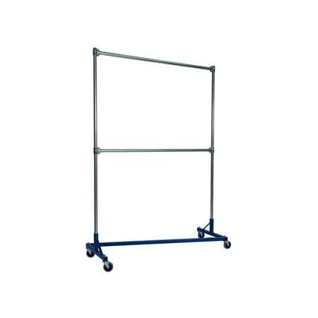 Amazon Com Quality Fabricators 5 Ft Heavy Duty Z Rack Double Rail Garment Rack W 7 Ft Uprights In Blue Home Kitchen