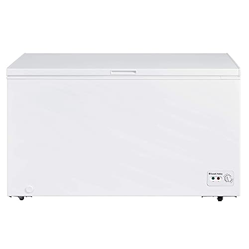 Russell Hobbs RHCF418 Large White 418L Chest Freezer with 5 Year Guarantee, F Energy Efficiency, Adjustable Feet and Thermostat, Suitable for Garages & Outbuildings