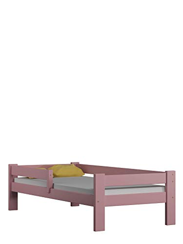 Children's Beds Home Lit Simple en Bois de Pin Massif - Willow est livré avec Un Matelas en Mousse sans tiroirs Inclus (140x70, Rose)