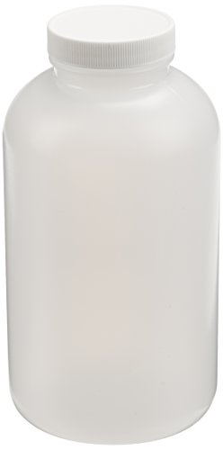 JG Finneran 9-204-2 HDPE Precleaned Wide Mouth Jar with White Polypropylene Closure and F217 Lined, 53-400mm Cap Size, 1000mL Capacity (Pack of 12)
