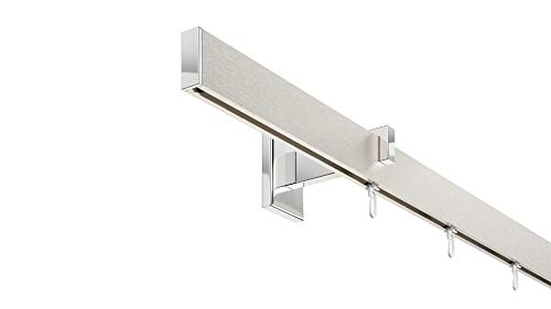 DécoProfi Innenlauf Gardinenstangen Set rechteckig Short, 1-läufig, Aluminium Silber eloxiert gebürstet/verchromt, 200 cm, kurzer Träger