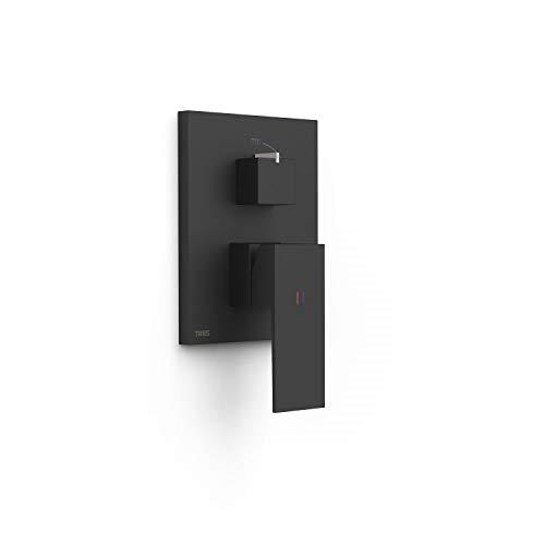 Grifo monomando empotrado de 2 vías Rapid-Box para ducha, gama Cuadro-Exclusive, con amortiguadores acústicos, maneta, 6 x 11,8 x 20,5 centímetros, acabado negro mate (referencia: 10628001NM)