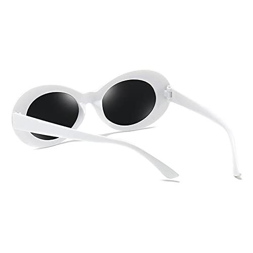 LYUNTING Gafas de sol ovaladas, unisex, elegantes lentes de color blanco ovalado, montura retro clásica, gafas de sol