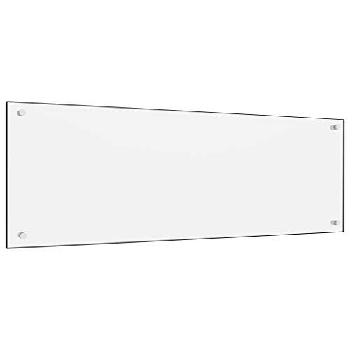 vidaXL Küchenrückwand Spritzschutz Fliesenspiegel Glasplatte Rückwand Herdspritzschutz Wandschutz Herd Küche Weiß 120x40cm Hartglas