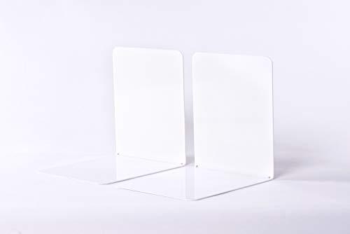 Maul 3506202 Buchstützen aus Metall, 2 Stück, 14x12x14 cm, Weiß