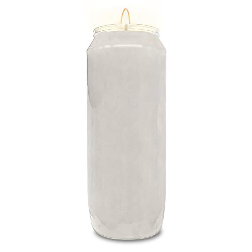 Hyoola 9 Day White Prayer Candles, 1 Pack - 7' Tall Pillar Candles for Religious, Memorial, Party Decor, Vigil and Emergency Use - Vegetable Oil Wax in Plastic Jar Container