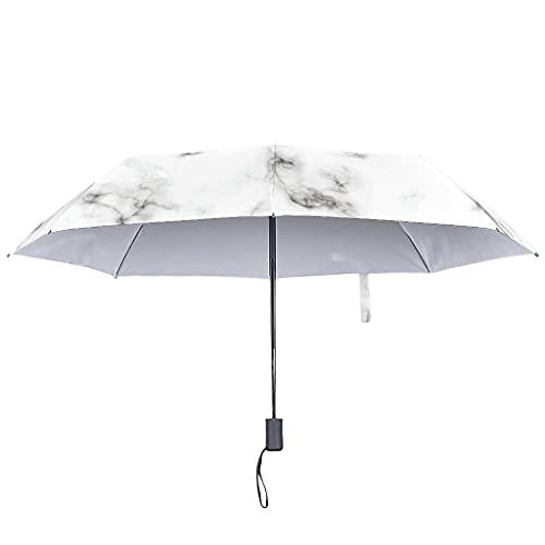 Paraguas de lluvia de textura de mármol automático -abstracto a prueba de viento un toque paraguas, White (Blanco) - Lind88-UBR