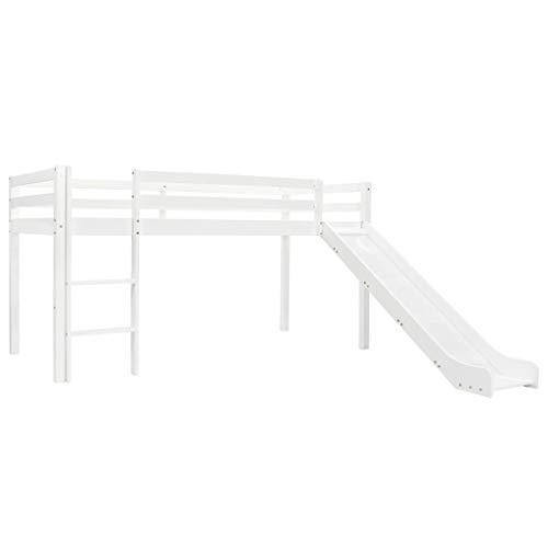 vidaXL Cama Alta para Niños Tobogán y Escalera Madera Pino 97x208 cm Somier Mueble Mobiliario Dormitorio Habitación Infantil Hogar