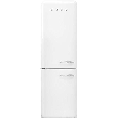 Smeg FAB32 50's Retro Style Aesthetic Bottom Freezer Refrigerator with 11.17 Cu Total Capacity, Multiflow Cooling System, Adjustable Glass Shelves 24-Inches, White Left Hand Hinge