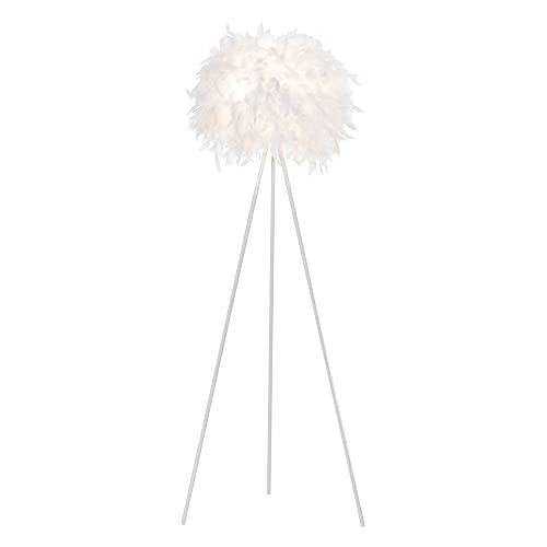 HOMCOM Lámpara de Pie con Trípode de Metal y Pantalla de Plumas con Interruptor de Pie Estilo Moderno para Dormitorio Sala de Estar Salón Estudio 54x54x147 cm Blanco