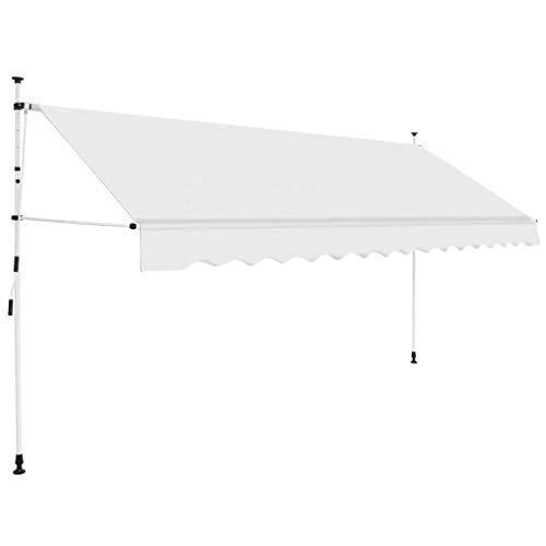 vidaXL Toldo Manual Retráctil 400cm Amarillo Blanco Parasol Sombrilla Cubierta