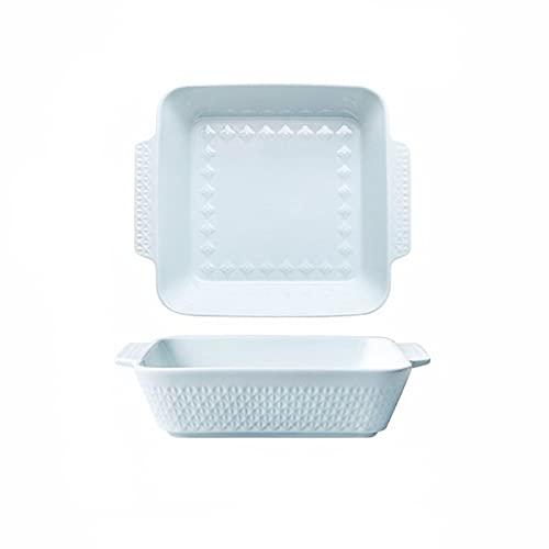 Kitchen Fuente de horno Juego de artículos para hornear, plato de cerámica de 2 piezas, bandejas rectangulares para hornear, plato de cazuela oblongo para cocinar, cena de pastel, cocina fuente para h