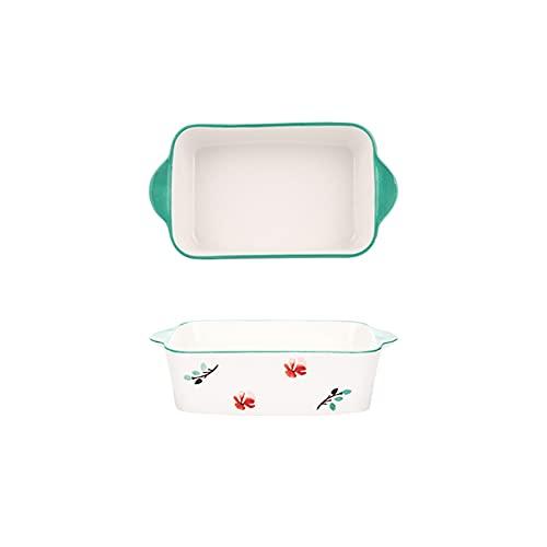 Fuente para horno Cerámica de 2 piezas, conjunto de platos para hornear, plato de cazuela rectangular, sartenes para hornear, cacerolas lasañas profundas para cocinar cena de pastel, cocina, 9 pulgada