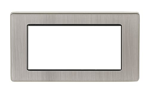 2 Gang Module Frame Concealed Satin Nickel Plate White Interior