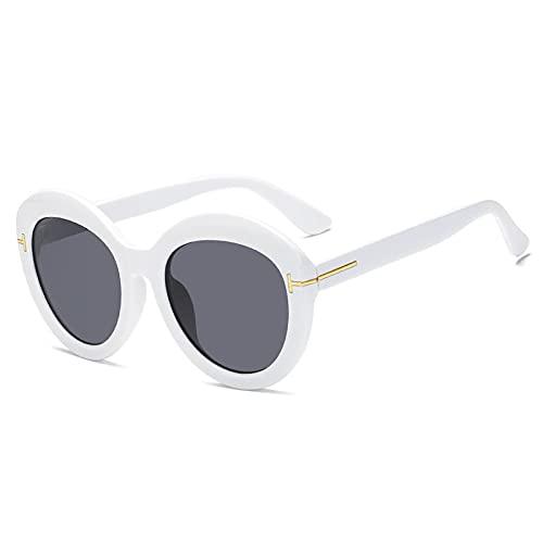 NJJX Moda Big Cat Eye Gafas De Sol Mujer Vintage Gafas De Sol Hombre Gafas Redondas Gafas Unisex C5 Blanco-Negro