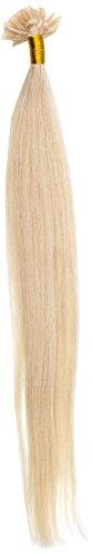 Just Beautiful Hair and Cosmetics 1 paquet (1 x 25 pièces) extension en cheveux naturels Remy avec onglets de kératine en forme de U Blond platine (60) 30 cm